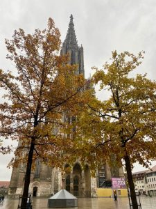 Münster in Ulm mit Friedensbanner
